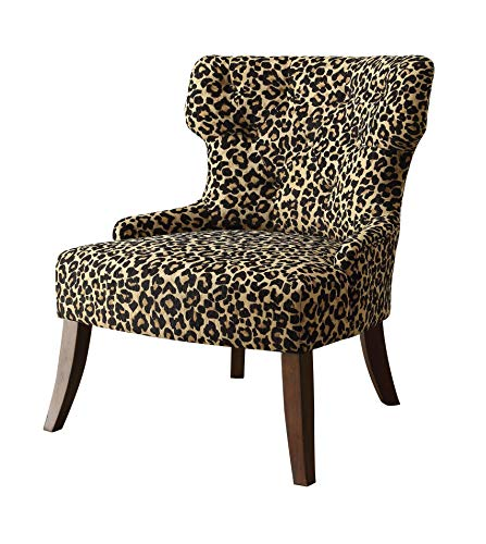 (Major-Q Mid-Century Style Modern Linen Accent Chair for Living Room/Bedroom, Tight Back and Seat Cushion, Leopard Pattern Fabric with Espresso Finish Wooden Tapered Leg, 9059188 )