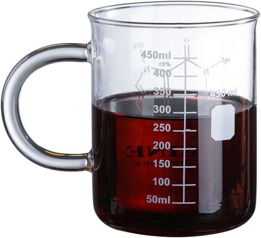 Caffeine Beaker Mug Graduated Beaker Mug with Handle Borosilicate Glass Multi-Function Food Grade Measuring Cup Glass Scale Beaker Coffee Cup