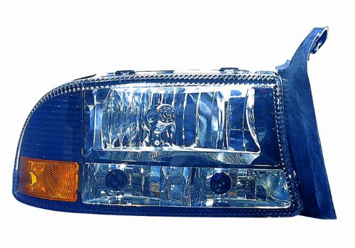 Headlights Diamond Black - Depo M33-1101P-AS2 Black Diamond Headlight with Park/Signal/Side Marker Lamp