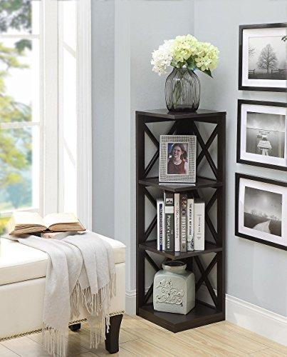 Convenience Concepts Oxford 3 Tier Corner Bookcase, Espresso