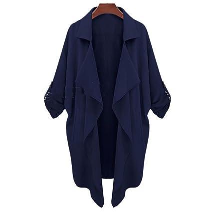 Mujer De Gran Tamaño Abrigo Damas Suelto Gabardina Chica Moda Minimalista Tops,DarkBlue-M