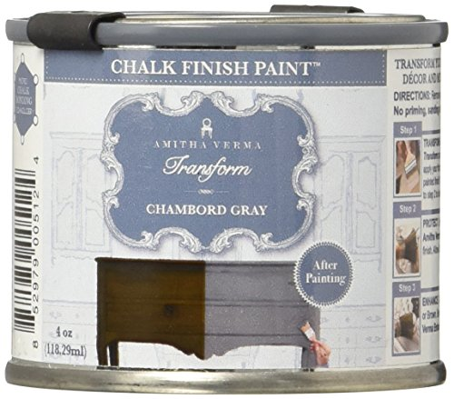 Amitha Verma Chalk Finish Paint, No Prep, One Coat, Fast Drying | DIY Makeover for Cabinets, Furniture & More, 4 Ounce, (Chambord Gray) (Upscale Brands Furniture)