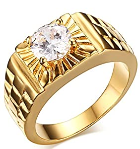 Adisaer Men's Stainless Steel Gold Plated Promise Ring Cubic Zirconia CZ Band Gold Size 7-11 Comfort Fit