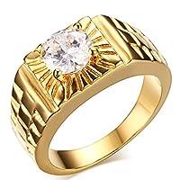 Anillos Adisaer de acero inoxidable para hombre Anillo de oro y diamantes Promise Band Cz Tamaño 7