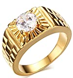 Adisaer Men's Stainless Steel Promise Ring Cubic Zirconia CZ Band Gold Plated Size 11 Comfort Fit