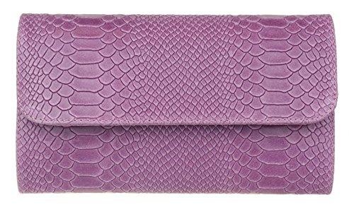 Snake Light Bag Clutch Print Leather HandBags Italian Suede Girly Purple OPg8n58q