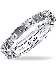 COOLMAN DAD Herren Armbänder Verstellbare 8,5-9 Zoll (21,5 cm - 22,8 cm) Edelstahl Armband mit DAD Gravur und Kubikzircon