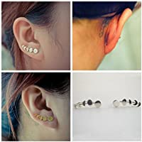 wanmanee Sweep Wrap Jewelry Climber Cuffs Earrings Moon Phases Ear Clip (Color Gold)