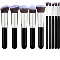 10 piezas de maquillaje Set de pinceles de base sintética de base Blending Blush Face Powder Brush Eyeshadow Blending Brushes (Negro /Plateado)