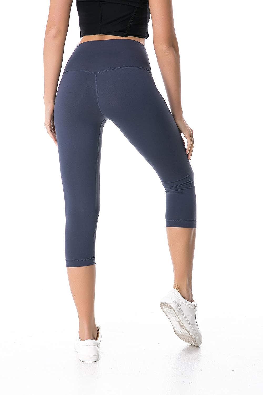 Eshtanga High Waist Yoga Capri Leggings Tummy Control Running Pants with Inner Pocket