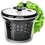 Salad spinner lettuce dryer large - with bowl and colander basket. BPA free clear plastic kitchen 5L spinners, vegetable washer dryers with smart lock lid. Easy water drain system is good for greens