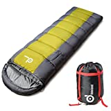 Cold Weather Waterproof Sleeping Bag with Armholes and Adjustable Foot Section – Envelope Lightweight Portable, Comfort With Compression Sack – for 4 Season Traveling, Camping, Hiking, Outdoor Activit