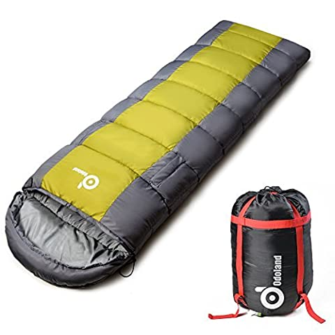 Waterproof Sleeping Bag with Armholes and Adjustable Foot Section – Envelope Lightweight Portable, Comfort With Compression Sack - Great For 4 Season Traveling, Camping, Hiking, Outdoor Activities