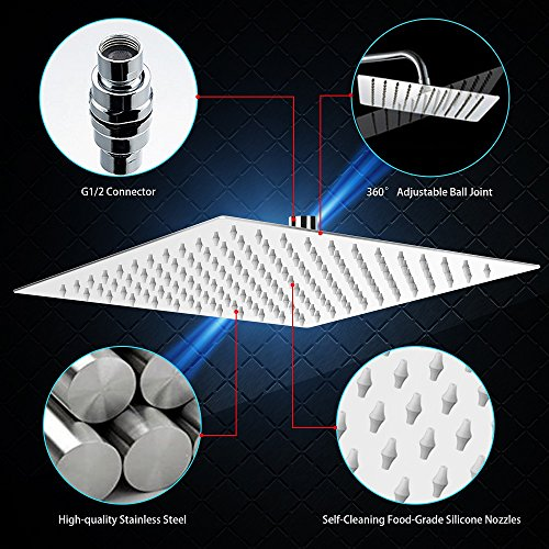 12 Inch Rain Shower Head, NearMoon High Pressure Stainless Steel Bath Shower, Ultra Thin Rainfall Showerhead Waterfall Body Covering with Silicone Nozzle and Powerful Spray Performance (12'' Square)