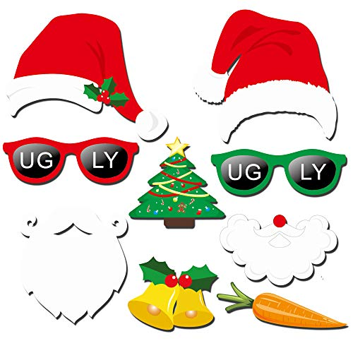 Howaf 59 Pcs Navidad DIY Photo Booth Props Cabina de Fotos Accesorios Photocall Divertido Foto Props - Gorros de Santa Gafas asta máscaras para Fiesta ...