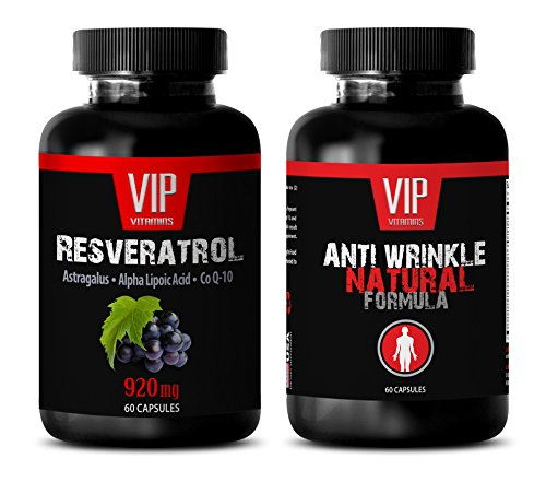 energy vitamin supplement - RESVERATROL – ANTI WRINKLE - COMBO - grape seed oil extract - 2 Bottles - (60+60 Capsules) by VIP Supplements
