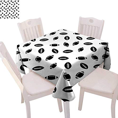 cobeDecor American Football Customized Tablecloth Monochrome Pattern with Black Rugby Balls American Culture Sports Play Tablecloth That can be Used as a Tapestry 60