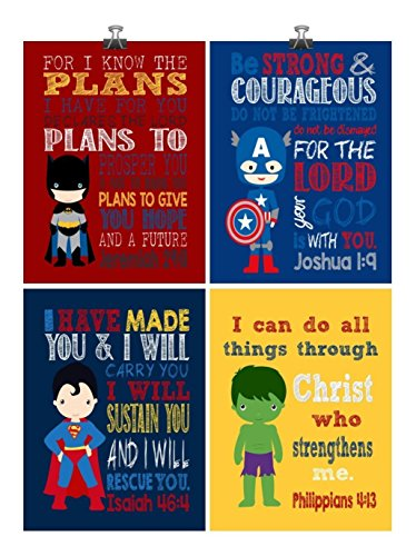 Christian Superhero Nursery Decor Art Print Set of 4 -Batman, Captain America, Superman and Hulk - Multiple Sizes