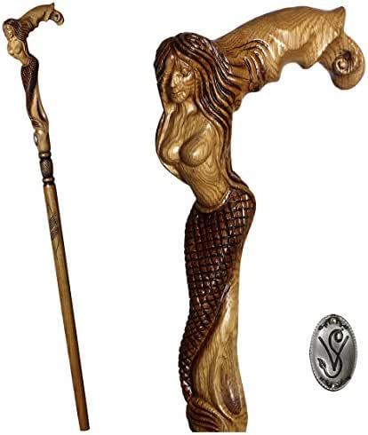 GC-Artis Mermaid Syren Handmade Wooden Walking Stick Cane Hand Carved Wood Crafted for men women Unique art