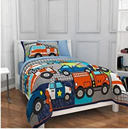 Firetruck, Police, Heroes, Trucks, Boy Full Comforter Set (7 Piece Bed In A Bag) by Kreative Kids