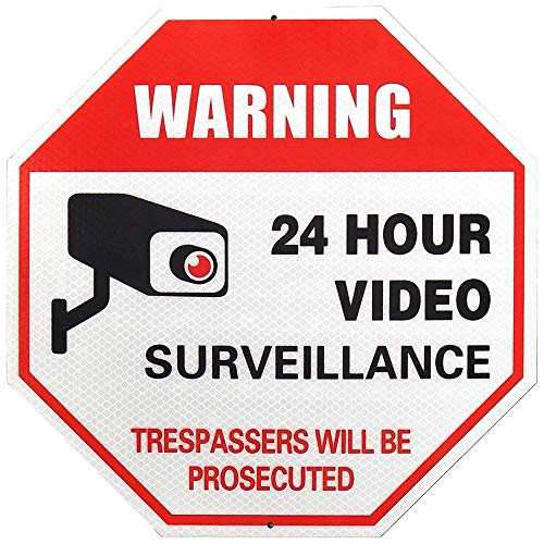 (Super Reflective 24 Hour Video Surveillance Sign, No Trespassing Warning Sign, Large 12 X 12 Octagon Rust Free Aluminum for Home Business Video Security CCTV Camera - Red)