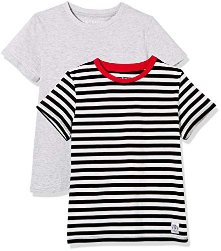 Kid Nation Kids' 2-Pack 100% Cotton Tag-Free Short Sleeve Jersey Basic Crewneck T-Shirt for Boys or Girls S Heather Grey + White Stripe