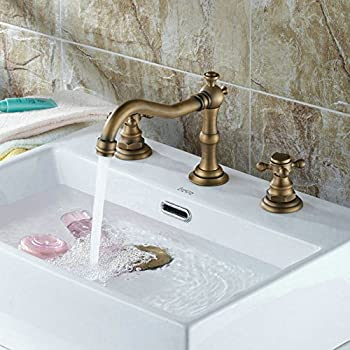 three hole bathroom sink faucet. Beelee Deck Mounted Three Holes Double Handles Widespread Bathroom Sink  Faucet Antique Brass Finished Votamuta