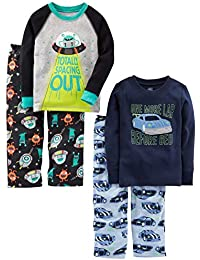 Little Kid and Toddler Boys' 4-Piece Pajama Set (Cotton Top & Fleece Bottom)