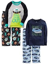 Simple Joys by Carter's Boys 4-Piece Pajama Set (Cotton Top & Fleece Bottom) Pajama Set