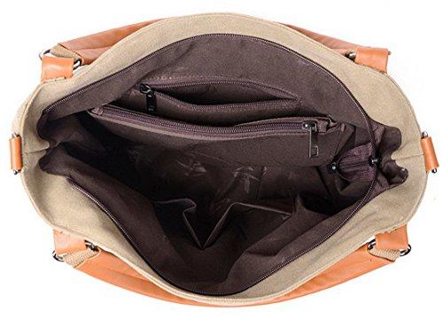 Panegy Damen Frauen Casual Tasche Mode Bunt Streifen Canvas Schultertasche Fashion Ethnischen Stil Handtasche Für Büro Freizeit Outdoor und Reisen Mehrfarbig 2