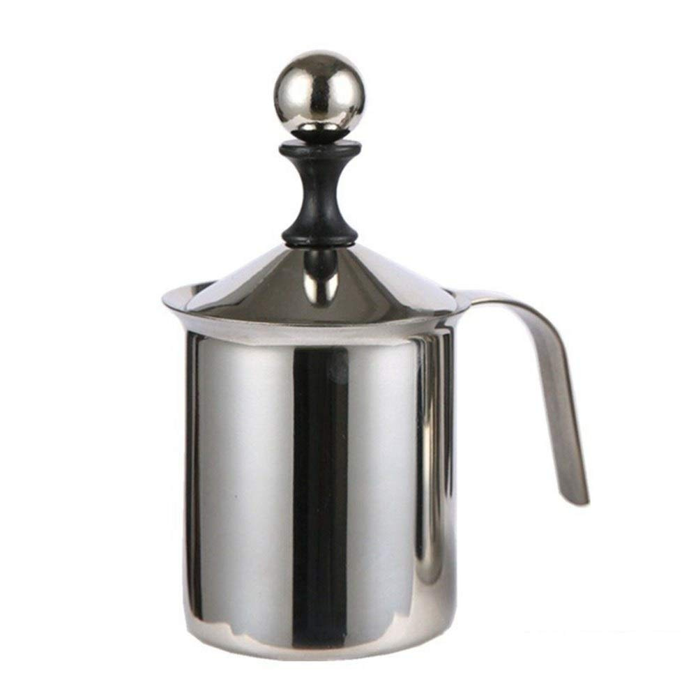 Milk Stuffer - Double stainless steel manual foaming machine The coffee machine is made of stainless steel, with a simple style, fine workmanship and good thermal conductivity. (Color : True color) by QIAOXINGXING