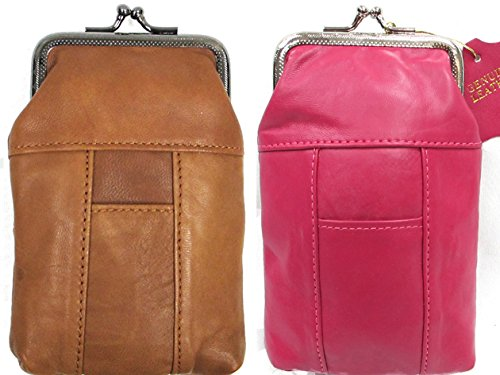 100'S 2pc Two Color Set Genuine Soft Leather Cigarette Case with Lighter Pocket Fit 100mm, 84's HOT PINK + LT. BROWN 2pc for $10.99
