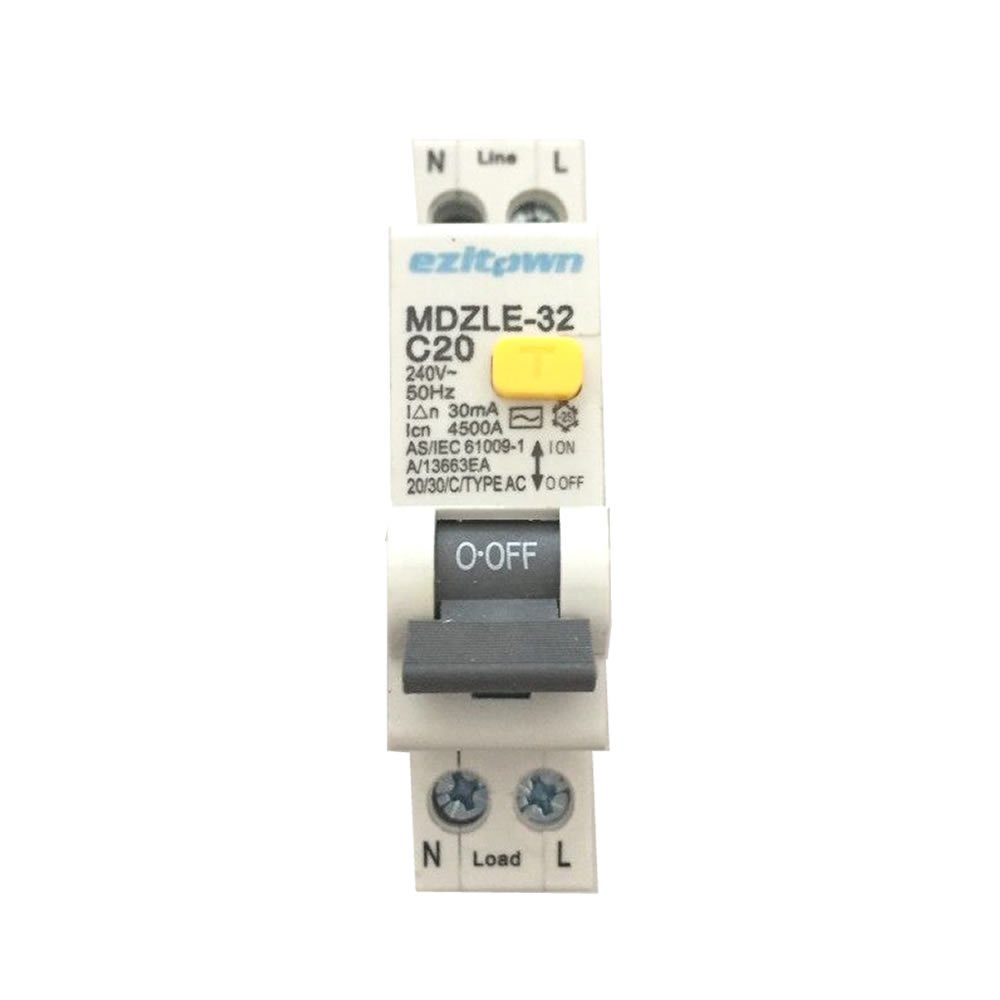 ezitown Residual Current Breaker RCBO With Overload Protection 6A Circuit Breaker 30mA 120V~250V earth leakage circuit breaker EZITOWN ELECTRIC FACTORY