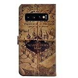 Galaxy S10 Case, Hogwarts Marauder's Map Vintage Retro Pattern Leather Wallet Credit Card Holder Pouch Flip Stand Case Cover for Samsung Galaxy S10 (2019 Release 6.1'')