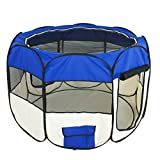 Cheap Super Deal Medium 48″ Pet Dog Cat Tent Playpen Exercise Play Pen Soft Crate(Blue)