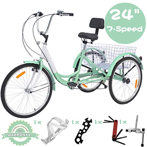 VANELL 7/1 Speed Tricycle Adult 20/24/26 in Trike Cruise Bike