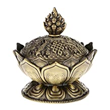 Lotus Incense Smoke Cone Aroma Burner Holder Stove Backflow Censer Decor - Bronze