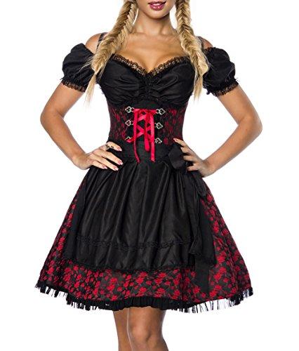 Dirndl Kleid Kostüm mit Bluse und Schürze aus Jacquard Stoff und Spitze Oktoberfest Dirndl rot/schwarz XXL