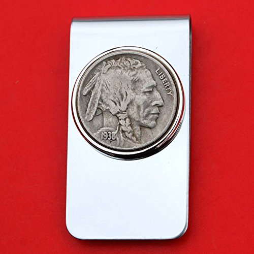US 1938 Indian Head Buffalo Nickel 5 Cent Coin Stainless Steel Money Clip ()