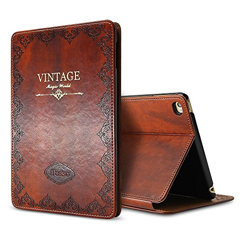 iPad Mini 1 2 3 Vintage Brown BOOK Type Leather Case Flip Cover, Miniko(TM) Modern Slim Book Style Case for iPad Mini 1 2 3 Premium PU Leather Smart Case Auto Sleep Wake Slim Fit Multi Angle Stand