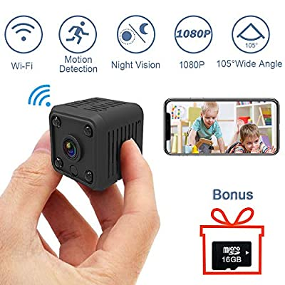 1080P Mini Spy Hidden Camera, SYOSIN Wireless Hidden Camera Spy Camera with Automatically Night Vision/Motion Detection/Live Streaming/ 16 GB Memory Card and Cell Phone App for Android/iOS