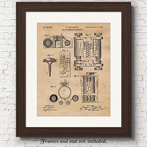 Original First Computer Patent Art Poster Print - 11x14 Unframed - Great Wall Art Decor Gifts for Technologists, Engineers, Man Cave, Garage, Boy's Room, School, Office.