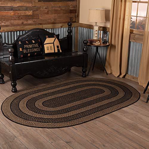 Braided Rug Oval Black - Classic Country Primitive Flooring - Farmhouse Jute Black Rug, 5' x 8'