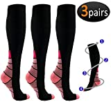EEHUT 3 Pairs Compression Socks (20-30mmHg) for Men & Women - Great for Running, Nursing, Medical, Athletic, Edema, Flight Travel, Pregnancy and Shin Splints (Pink, S/M)