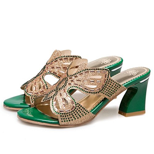 green a Mules 2 Slides Donne Tacco Blocco Moda Zanpa Sandali zwxR4qgCw