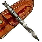 Handmade Damascus Steel Hunting Mini Tri Dagger