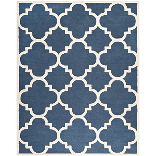 Safavieh Cambridge Collection CAM140G Handmade Moroccan Geometric Navy and Ivory Premium Wool Area Rug (8′ x 10′)