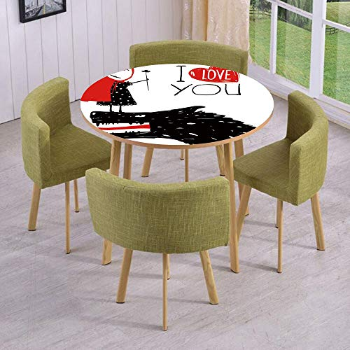 iPrint Round Table/Wall/Floor Decal Strikers/Removable/Little Red Riding Hood Loves Bad Horrible Wolf Plot Twist Fairytale Art/for Living Room/Kitchens/Office Decoration