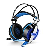 Winkeyes USB Wired Professional Gaming Headset Enhanced Bass Game Headphone Over-ear Earphone with Micphone Vibration 7.1 Virtual Surround Sound Led Lighting for PC Desktop Laptop Mac
