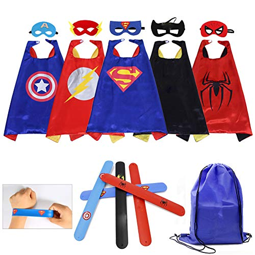 Kids Cartoon Dress up Costumes Boys Satin Superhero Capes and Masks 5 Characters with Slap Bracelets for Cosplay Party Game Toys 5PCS